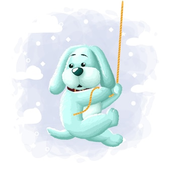 Cartoon cute dog climbing illustration