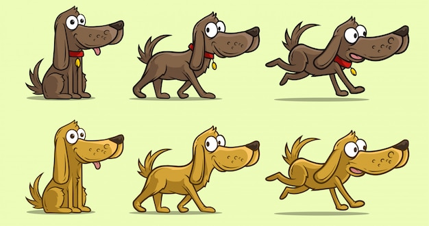 Cartoon cute dog in different positions