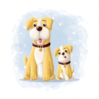 Cartoon cute dog eskimo illustration