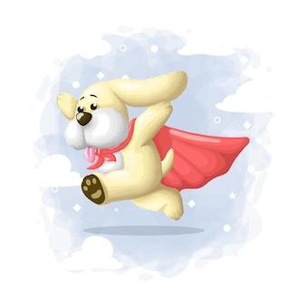 Cartoon cute dog hero illustration
