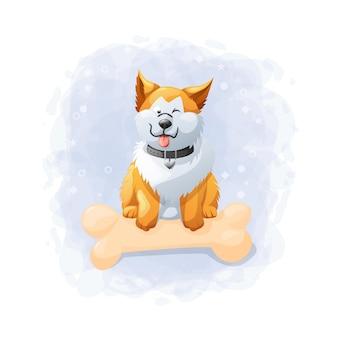 Cartoon cute dog illustration