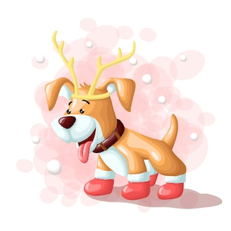 Cartoon cute dog merry christmas eskimo illustration