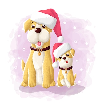 Cartoon cute dog merry christmas eskimo illustration