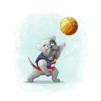 Cartoon cute dog play basketball illustration