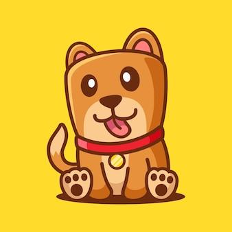 座って漫画かわいい犬