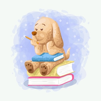 漫画かわいい犬は本イラストベクトルの上に座る
