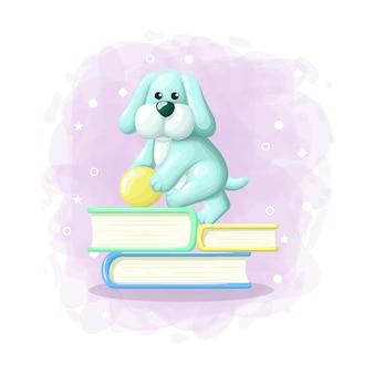 Cartoon cute dog step on the book illustration