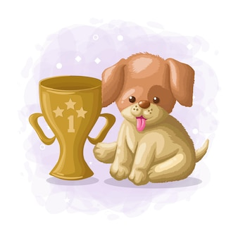 Cartoon cute dog winner illustration