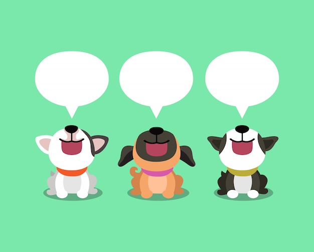 Cartoon cute dogs with speech bubbles