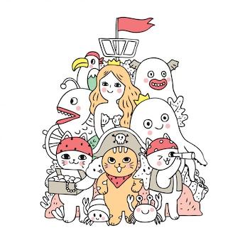 Cartoon cute doodle under sea vector.
