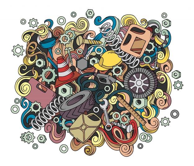 Cartoon cute doodles hand drawn auto service illustration.