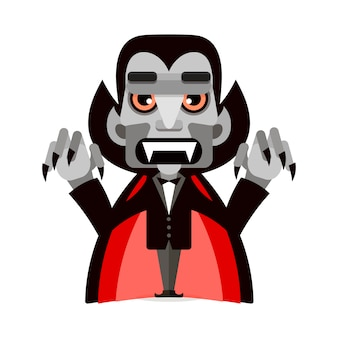 Cartoon cute dracula in a cloak