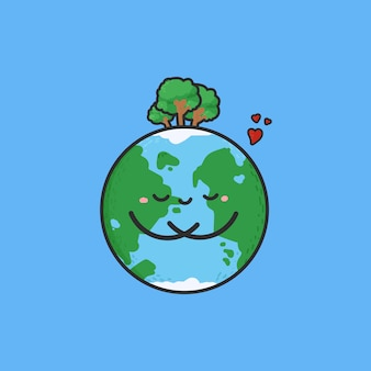 Cartoon cute earth with tree on the head.  hand drawn.