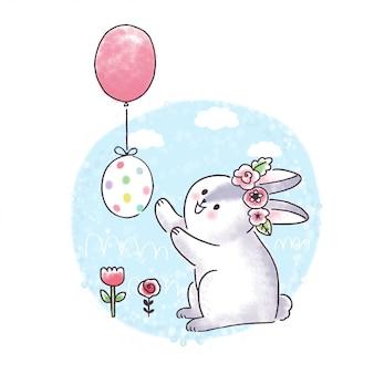 Cartoon cute easter day, balloon, egg and rabbit