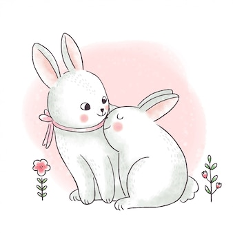 Cartoon cute easter day, mom and baby rabbits