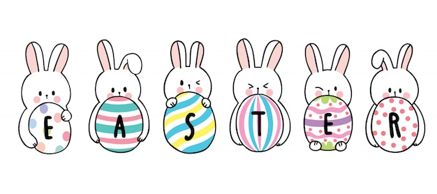 Cartoon cute easter day rabbits and colorful eggs