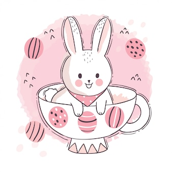 만화 귀여운 부활절 날, 흰 토끼와 커피 컵