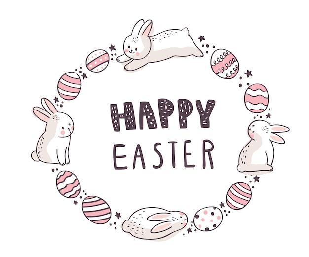 Мультфильм милый день пасхи, белый кролик и сладкие яйца.