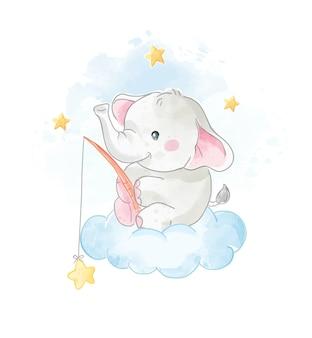 Cartoon cute elephant on the cloud with stars illustration