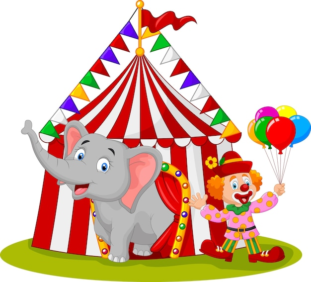 Cartoon cute elephant and clown with circus tent
