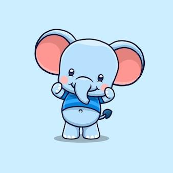Cartoon cute elephant healthy and strong
