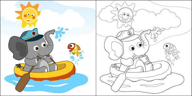 Cartoon of cute elephant on inflatable boat with a little fish