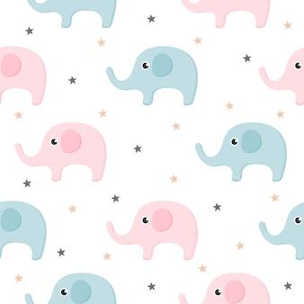 Мультфильм милый слон бесшовный узор на белом фоне.