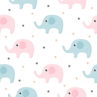 Cartoon cute elephant seamless pattern isolated on white background.