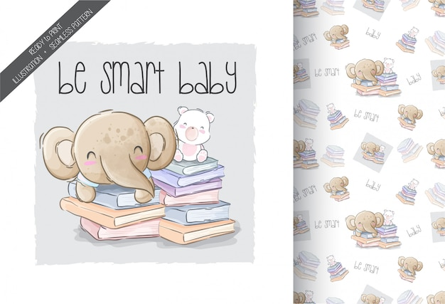 Cartoon cute elephant with cat be smart seamless pattern