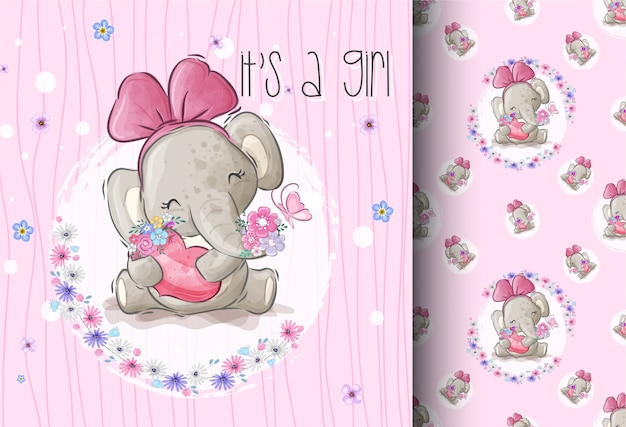 Cartoon cute elephant with lover flower seamless pattern