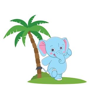 Cartoon cute elephant with a smile face