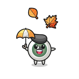 Cartoon of the cute eyeball holding an umbrella in autumn , cute style design for t shirt, sticker, logo element