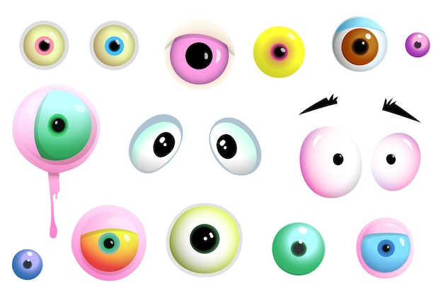 Cartoon cute eyes of monsters and creatures different shapes and colors isolated objects set