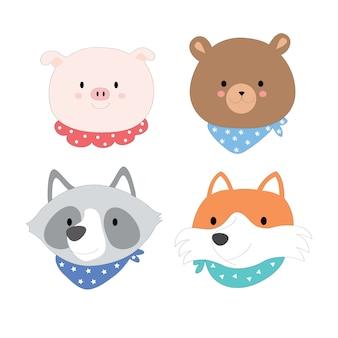 Cartoon cute face animals