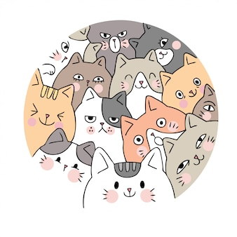 Cartoon cute face cats vector.