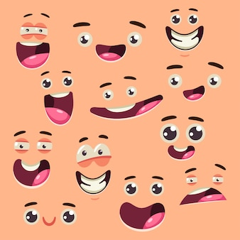 Cartoon cute face collection vector set isolated on background.