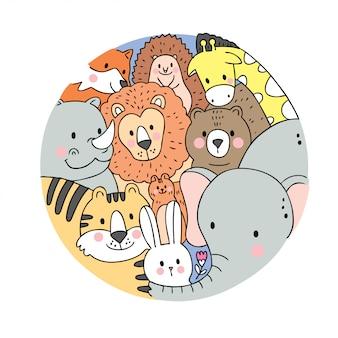 Cartoon cute face wildlife animals vector.
