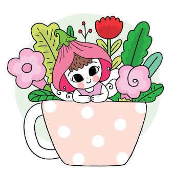 Cartoon cute fairy girl and flower in coffee cup vector