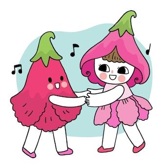 Cartoon cute fairy girl and flower dancing vector