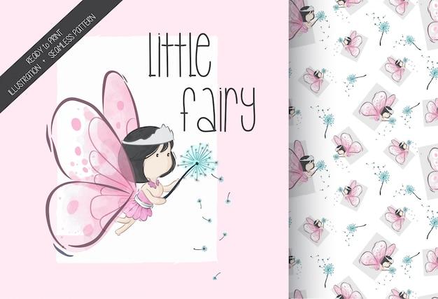 大きな翼のシームレスなパターンを持つ漫画かわいい妖精少女