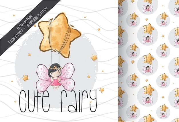 Cartoon cute fairy on star with seamless pattern