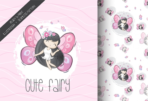 Cartoon cute fairy with seamless pattern