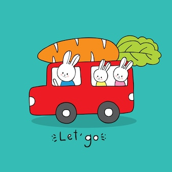 Cartoon cute family white rabbits  driving a truck and giant carrot