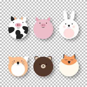 Cartoon cute farm animal collection. animals pattern isolated vector illustration. comic character. funny baby set.