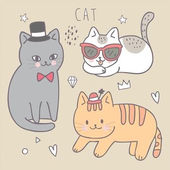 Cartoon cute fashion cat