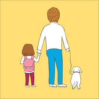 Мультфильм милый отец и дочь и собака вектор.