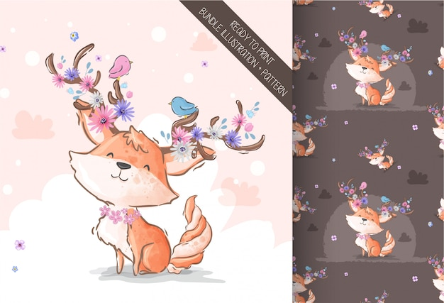 Cartoon cute fox with flowers horn seamless pattern