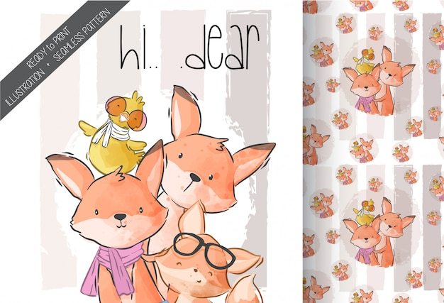 Cartoon cute foxs with baby duck seamless pattern