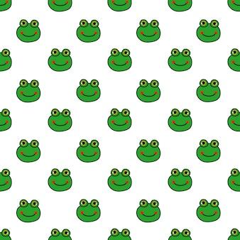 Cartoon cute frogs seamless pattern.