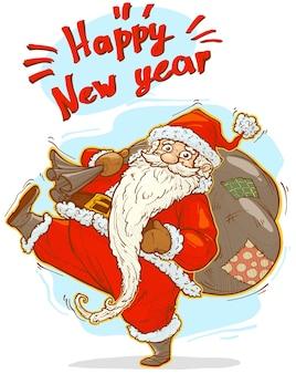 Мультяшный милый забавный бородатый санта-клаус в красном костюме и кепке с большой подарочной коробкой для праздника. изолированные на белом фоне. новый год и рождество вектор значок.
